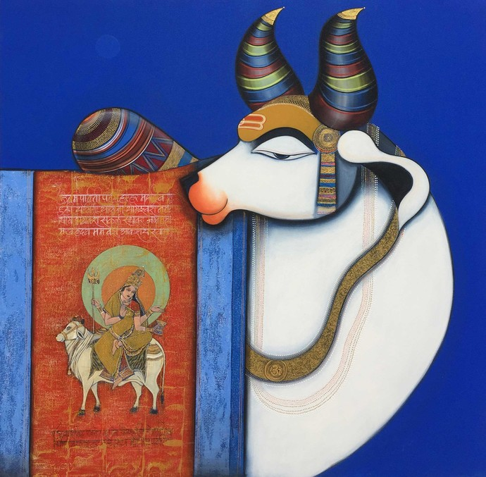 Nandi 5 by Ashok Rathod, Traditional Painting, Acrylic on Canvas, Blue color