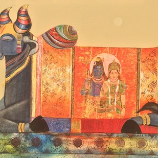 Nandi 6 by Ashok Rathod, Traditional Painting, Acrylic on Canvas, Beige color