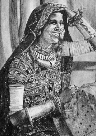 BANJARAN by SudhaPraveen, Illustration Drawing, Pencil on Paper, Gray color
