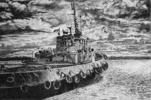 THE BOAT by SudhaPraveen, Illustration Drawing, Pencil on Paper, Gray color