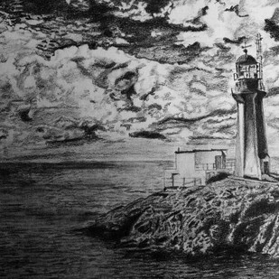 THE LIGHT HOUSE by SudhaPraveen, Illustration Drawing, Pencil on Paper, Gray color