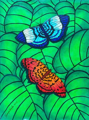 Colors of Nature 3 by Sreya Gupta, Expressionism Painting, Mixed Media on Canvas, Green color