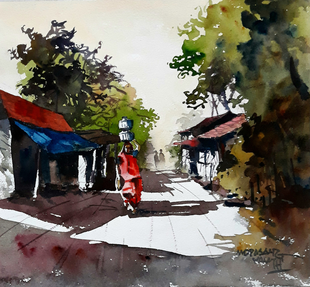 Gujarat Days 2 by Mopasang Valath, Impressionism Painting, Watercolor on Paper, Brown color