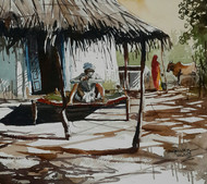 Gujarat Days 3 by Mopasang Valath, Impressionism Painting, Watercolor on Paper, Brown color