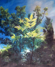 freshness by Indranil, Impressionism Painting, Dry Pastel on Paper, Green color