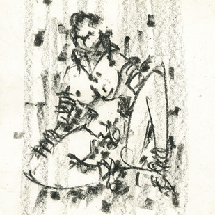 Gipsy by Ram Divakar, Illustration Drawing, Oil Pastel on Paper, Beige color