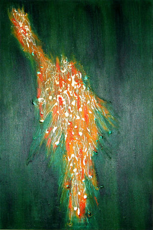 Abundance by Hufreesh Dumasia Chopra, Expressionism Painting, Acrylic on Canvas, Green color