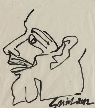 "Head, Ink on Conte Paper, Black, Grey by Indian Artist Sunil Das ""In Stock"" by Sunil Das, Illustration Drawing, Ink on Paper, Beige color"