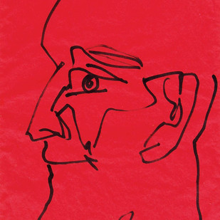 "Head, Pen & Ink on Coloured Paper, Red, Black by Indian Artist ""In Stock"" by Sunil Das, Illustration Drawing, Pen & Ink on Paper, Red color"
