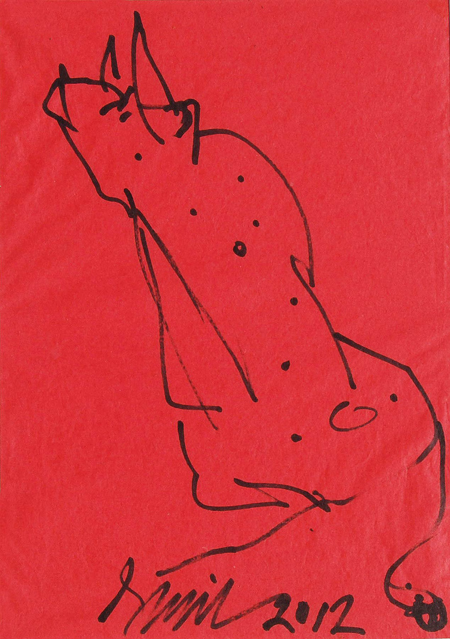 "Bull, Ink on Coloured Paper, Red, Black by PadmaShree Artist Sunil Das ""In Stock"" by Sunil Das, Illustration Drawing, Ink on Paper, Red color"
