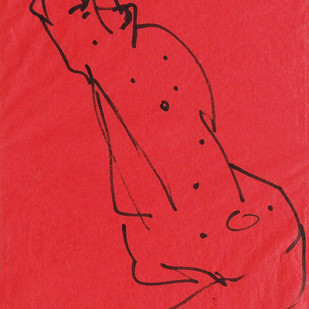 """Bull, Ink on Coloured Paper, Red, Black by PadmaShree Artist Sunil Das """"In Stock"""" by Sunil Das, Illustration Drawing, Ink on Paper, Red color"""