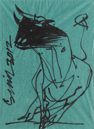 Bull by Sunil Das, Illustration Drawing, Ink on Paper, Green color