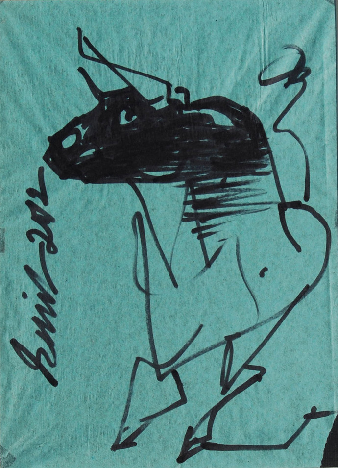 "Bull, Ink on coloured paper, Green, Black by Indian Artist ""In Stock"" by Sunil Das, Illustration Drawing, Ink on Paper, Cyan color"