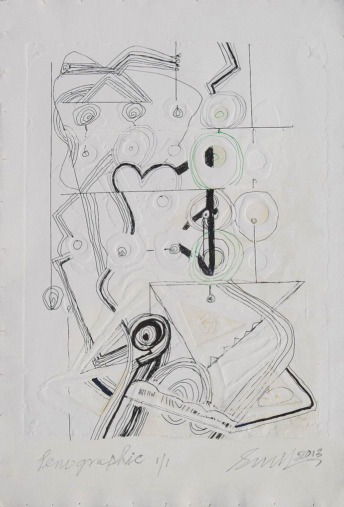 Penographic I by Sunil Das, Illustration Painting, Serigraph on Paper, Gray color