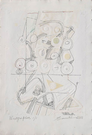 Penographic II by Sunil Das, Illustration Painting, Serigraph on Paper, Gray color