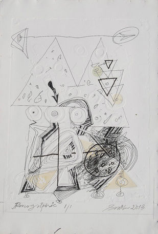 "Penographic III, White, Black Colour Drawing by Indian Artist Sunil Das ""In Stock"" by Sunil Das, Illustration Painting, Serigraph on Paper, Gray color"