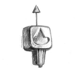 Arrow 04 by KS Guruprasad, Illustration Drawing, Digital Print on Archival Paper, White color