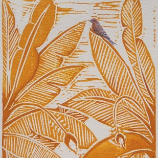 Untitled by Ratna Bardhan, Expressionism Printmaking, Linocut Print on Paper, Brown color