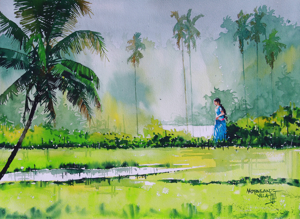 Morning Glory by Mopasang Valath, Impressionism Painting, Watercolor on Paper, Green color
