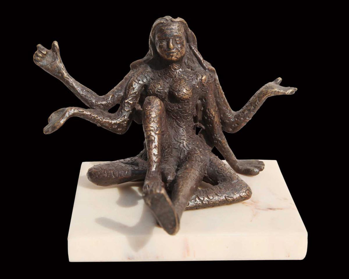 "Goddess of Strength & Power, Bronze, Sculpture, Brown by Indian Artist ""In Stock"" by Seema Kohli, Art Deco Sculpture | 3D, Bronze, Black color"