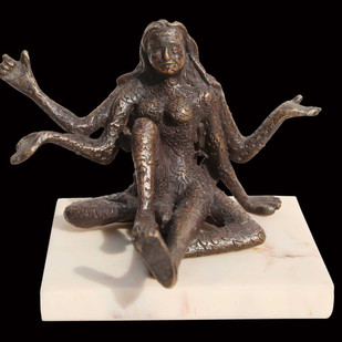 "Goddess of Strength & Power, Bronze, Sculpture, Brown by Indian Artist ""In Stock"" by Seema Kohli, Art Deco Sculpture 