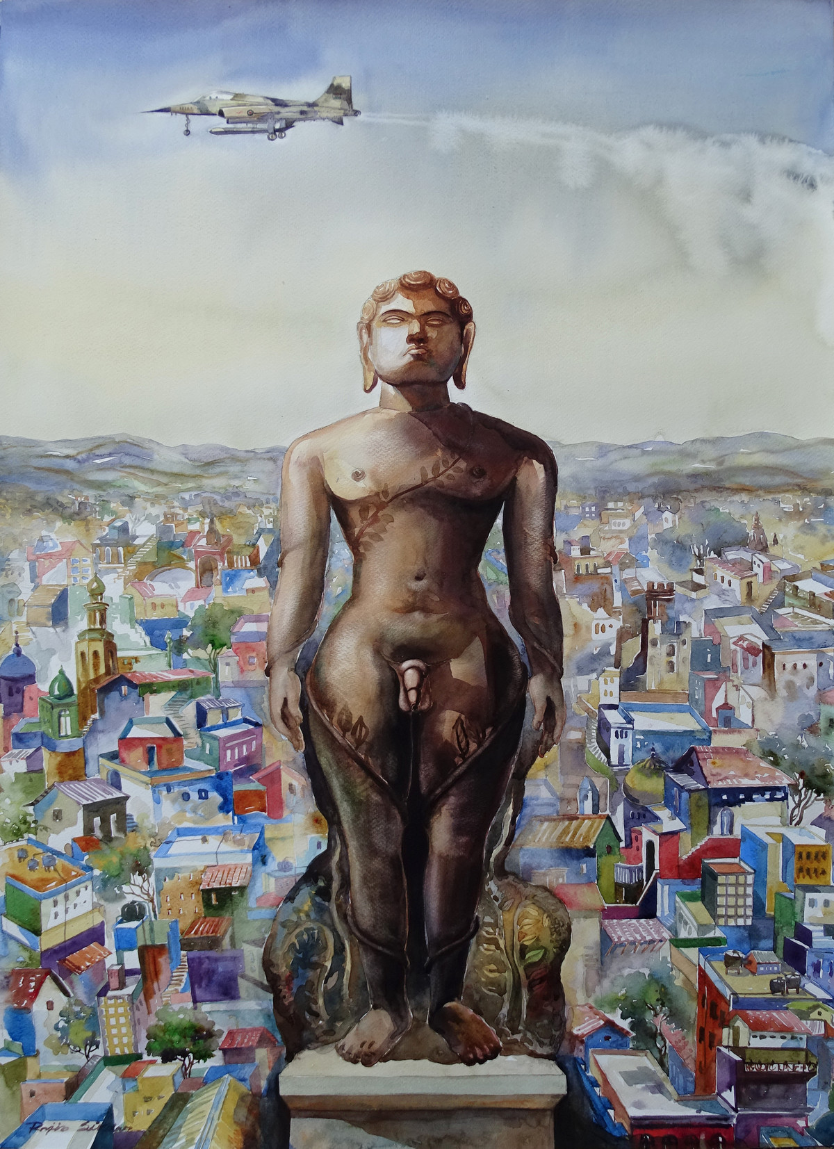 NAKED GOD IN THE CITY by Rajib Sikdar, Conceptual Painting, Watercolor on Paper, Gray color