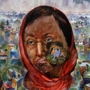 THE VICTIM by Rajib Sikdar, Conceptual Painting, Watercolor on Paper, Brown color