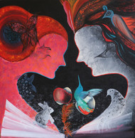 Story of Adam & Eve 4 by Shivani Mathur, Expressionism Painting, Acrylic on Canvas, Brown color