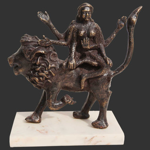 "Shakti, Hindu Goddess, Lion, Mythology, Bronze Sculpture, Brown ""In Stock"" by Seema Kohli, Expressionism Sculpture | 3D, Bronze, Gray color"