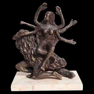 "Hindu Goddess Vaishnavi, Mythology, Bronze Sculpture, Brown color ""In Stock"" by Seema Kohli, Art Deco Sculpture 