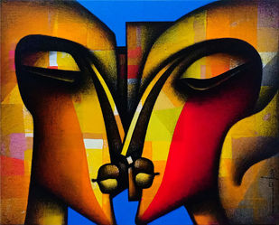 """Made for Each other, Charcoal & Acrylic on Canvas, Red, Yellow, Blue, Orange, Yellow """"In Stock"""" by Jagannath Paul, Expressionism Painting, Acrylic on Canvas, Brown color"""