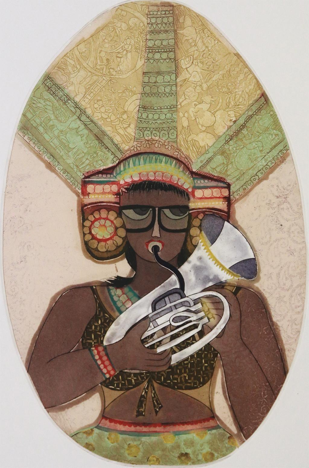 Untitled by Sonal Varshneya, Pop Art Printmaking, Etching on Paper, Beige color