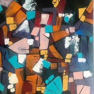 Patterns and colors by sapna anand, Abstract Painting, Acrylic on Board, Brown color