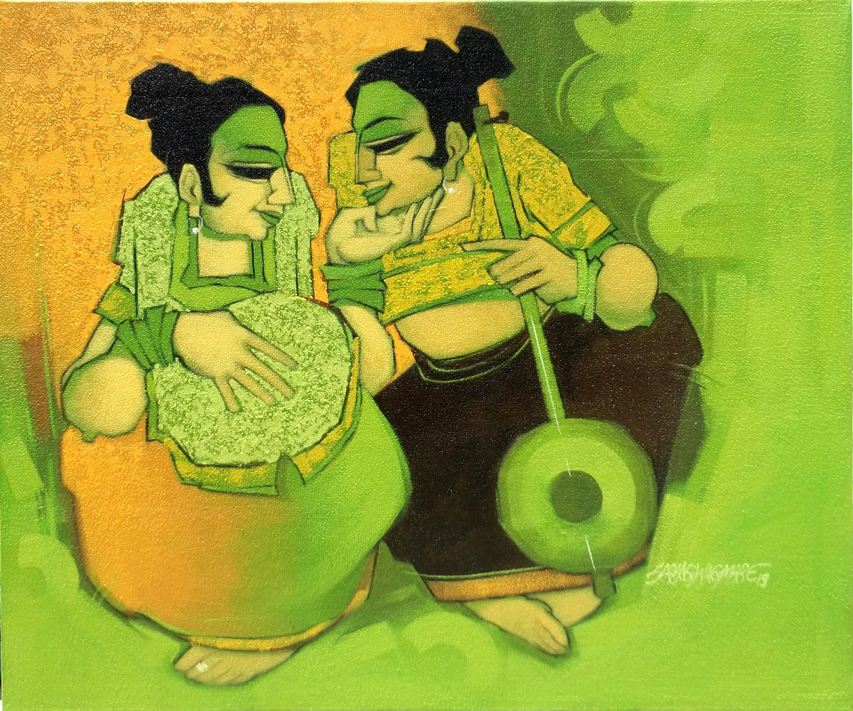 Melody Makers 1 by Sarang Waghmare, Expressionism Painting, Acrylic on Canvas, Green color