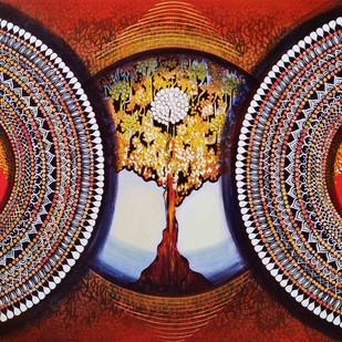 MANDALA - EXPANSION BEYOND DIMENSION series 2 by NITU CHHAJER, Decorative Painting, Acrylic on Canvas, Brown color
