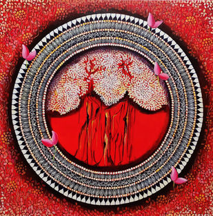MANDALA - A SOUL CONNECTION SERIES 5 by NITU CHHAJER, Decorative Painting, Acrylic on Canvas, Brown color