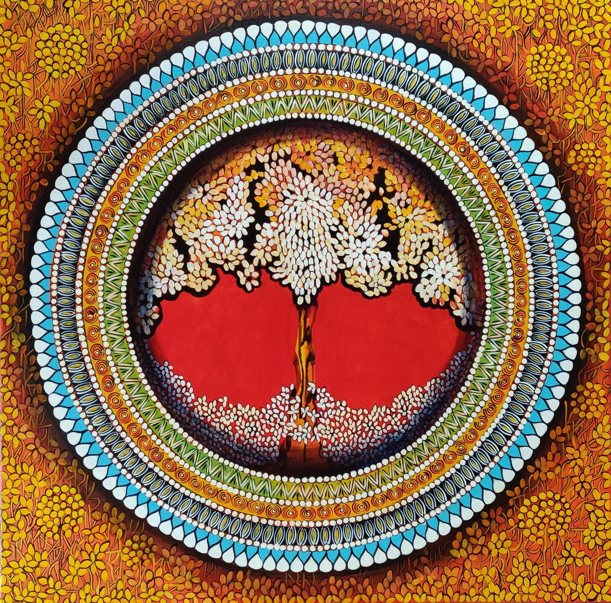 MANDALA - A SOUL CONNECTION SERIES 7 by NITU CHHAJER, Decorative Painting, Acrylic on Canvas, Brown color
