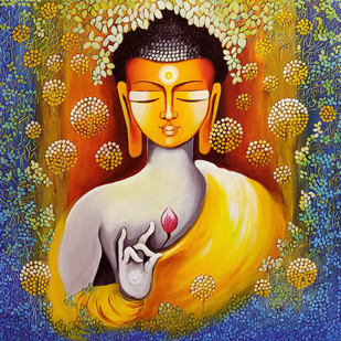 BUDDHA - PEACE BEGINS WITH SElf LOVE by NITU CHHAJER, Decorative Painting, Acrylic on Canvas, Brown color