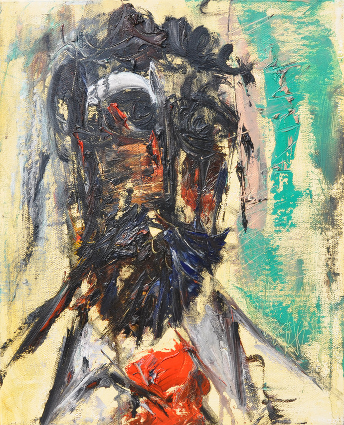 untitle by Vikash Kalra, Expressionism Painting, Oil on Canvas, Beige color