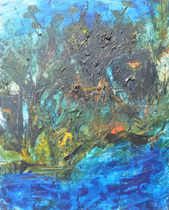 untitle by Vikash Kalra, Abstract Painting, Oil on Canvas, Green color