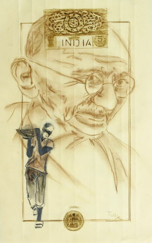 Rural Rhapsody by Tushar Waghela, Expressionism Drawing, Graphite on Paper, Beige color