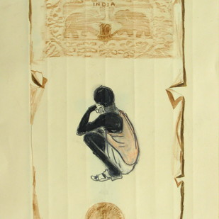 Chhattisgarh Diaries - ZERO by Tushar Waghela, Illustration Drawing, Graphite on Paper, Beige color