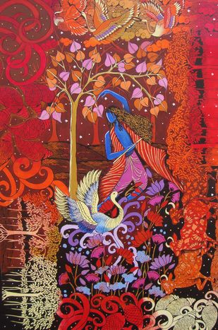 KRISNA'S RHYTHUM by Arti Vohra, Decorative Painting, Acrylic on Canvas, Brown color