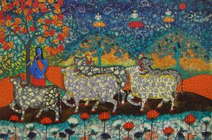 COLOURFUL COWS -4 by Arti Vohra, Expressionism Painting, Acrylic on Canvas, Brown color