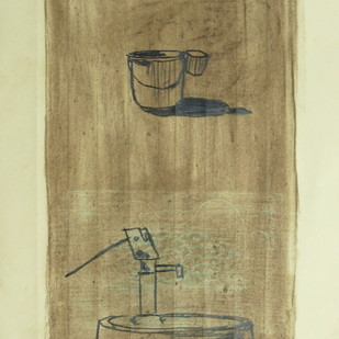 Chhattisgarh Diaries - Handpump by Tushar Waghela, Expressionism Drawing, Graphite on Paper, Beige color