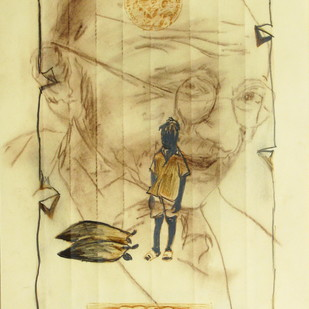 Chhattisgarh Diaries - Dreams of India by Tushar Waghela, Illustration Drawing, Graphite on Paper, Beige color