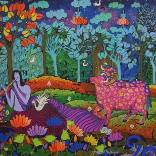 COLOURFUL COWS -4 by Arti Vohra, Expressionism Painting, Acrylic on Canvas, Blue color