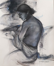 "Nude Women, Bird, Mixed Media Painting, Blue, Black by Bengal Artist ""In Stock"" by Gouranga Beshai, Illustration Painting, Mixed Media on Paper, Gray color"