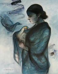"""Women with Swan, Mixed Media Painting, Blue, Black by Indian Artist """"In Stock"""" by Gouranga Beshai, Expressionism Painting, Mixed Media on Paper, Gray color"""