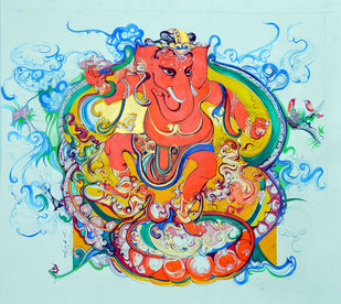 Ganesha by Asit Mondal, Expressionism Painting, Tempera on Board, Cyan color